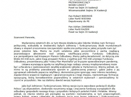 List FSSM do liderów Lewicy - 2021.05.03